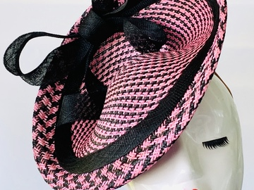For Sale: Black and Pink Disc Fascinator