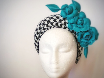For Sale: Houndstooth headband with green leather flowers