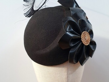 For Sale: 'Petice' Black Felt Hostess with Leather Flowers SALE