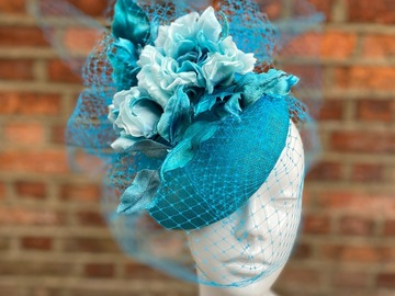 For Sale: Turquoise Hat trimmed with Silk Flowers