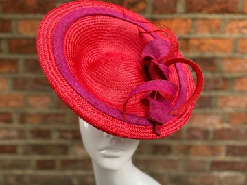 For Sale: Red Straw Saucer Hat