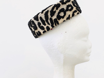 For Sale: Beaded Leopard Print Rear Pillbox