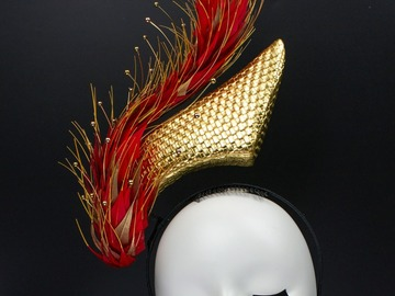 For Sale: Flaming Red with Gold Feather Floating Headpiece