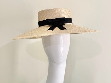 For Sale: Wide Brim Boater in Natural with Black Ribbon