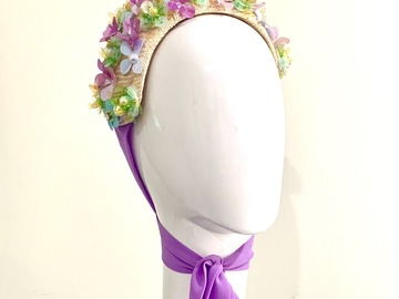 For Sale: Pastel Flower Straw Halo