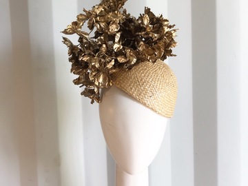 For Sale: Gold and straw fascinator