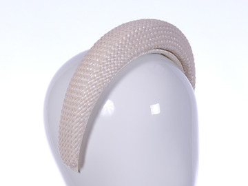 For Sale: Natural/ White Panama Weave Headband