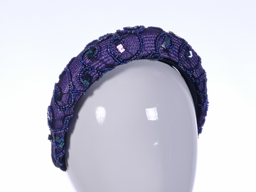 For Sale: Purple Beaded Lace Headband