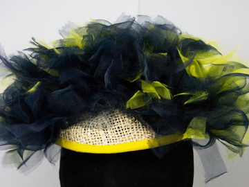 For Sale: Navy/Yellow Ombre Organza Hat