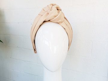 For Sale: Beige leather turban knot headband