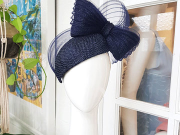 For Sale: Navy Blue curve headpiece with bow