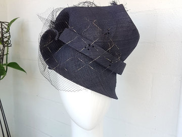 For Sale: Navy Mini Free Form Top Hat