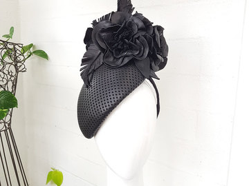For Sale: Black leather curve headpiece with leather feathers and rose