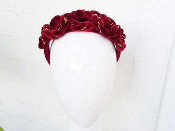 For Sale: Deep Red Velvet Chain Regal Style Crown Headband