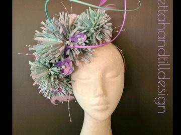 For Sale: Pastel turquoise and lilac pom pom dahlia headpiece