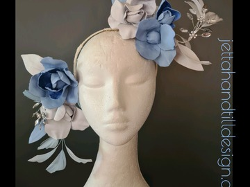 For Sale: Powder Blue and  Pearl White Rose Vine face frame