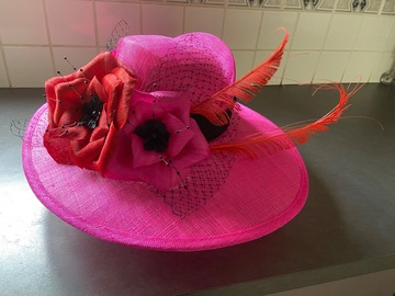 For Rent: Pink Brim with pink/red flowers and black band