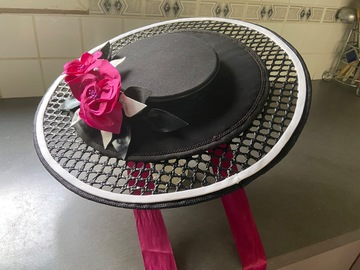 For Rent: Black& white boater with fuchsia flowers and ribbon