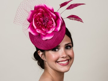 For Rent: Ellie ~ Magenta Pink Sinamay Percher with Silk Rose