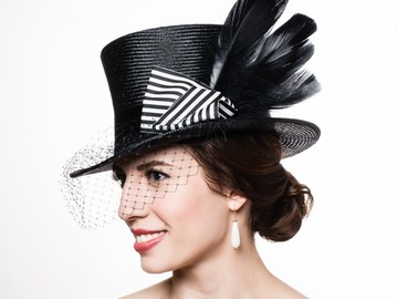 For Rent: Stella ~ Black Parasisal Top Hat with Veil